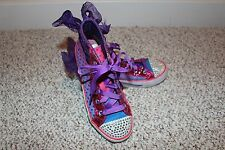 Girl's Sketchers Twinkle Toes Light-Up Hi Top Shoes Youth Size 3M VG Condition