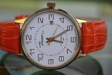 LOVELY MEN'S THICKLY GOLD-PLATED MECH VIMPEL WATCH 21 JEWELS; CALENDAR!