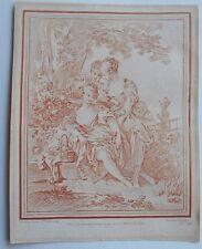 Gravure XVIII à la manière de la sanguine - Demarteau - Boucher