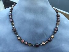 Heart Shaped Czech Metallic Bronze Glass Handmade Beaded Necklace Cube Round
