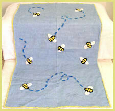 CUTE Blue Stripe Chenille with Bees Throw Blanket Baby Child Blue Moon NEW!