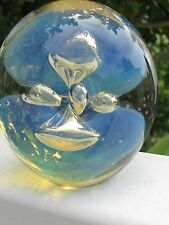 """EICKHOLT MOON JELLY PAPERWEIGHT:  Blue,Opalescent, Controlled Bubbles, 3.5"""",1990"""