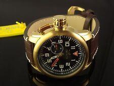 MENS INVICTA  18K PLATED AVIATOR  LARGE 51 MM THICK BROWN LEATHER W BLACK DIAL