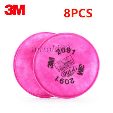 8Pcs=4Packs 3M 2091 Particulate Filter P100 For 6000, 7000 Series Respirator
