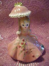 VTG Josef Pink Gown Parasol Umbrella Valentime Heart Roses Special Girl Figurine