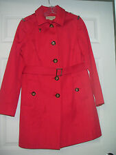 MICHAEL KORS women's single breasted hooded raincoat.  Red.  MINT! Small