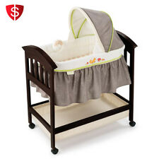 Portable Nursery Crib Furniture Baby Bassinet Infant Bed Basket Wood Cradle
