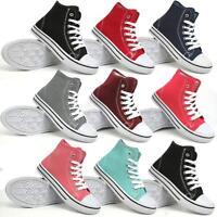 Ladies Canvas Shoes Girls Ankle Hi Tops Boots Retro Plimsolls Pumps Trainers Siz