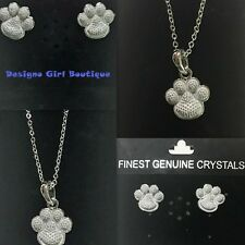 Crystal Heart Paw Print Necklace Earrings Set Silver Dog Cat Dainty