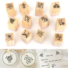 12x Vintage Flower Wooden Rubber Stamp Letters Diary Craft Scrapbooking Decor