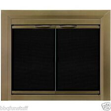 Pleasant Hearth Glass Fireplace Door Screen Chandellar Ant Brass Med CH-3201 ***