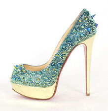 CHRISTIAN LOUBOUTIN $3,495 Aqua Strass VERY MIX 140 LADY PEEP Pumps 37.5 NEW
