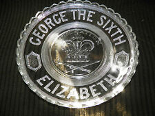 George The Sixth Coronation Elizabeth Pressed Glass Cake Fruit Jelly Plate
