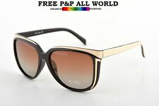 NEW WOMENS  LADIES POLARIZED BROWN SUNGLASSES +Hard Case and Glasses Cloth