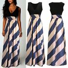 Boho Women Stripe Chiffon Sleeveless Long Maxi Dress Summer Beach Party UK 8-24