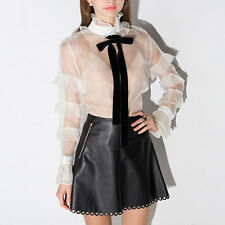 Haoduoyi Sexy White Sheer Long sleeve Shirts Tops Tie Bow Ruffles Party Blouse L