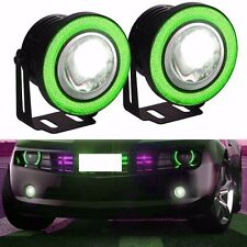 "3.5"" 2pcs Angel Eye COB Halo Ring LED DRL Projector Lens Fog Driving Light Green"