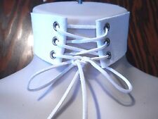 Emma Frost WHITE FAUX LEATHER/SUEDE CORSET COLLAR choker necklace Cosplay new 5B