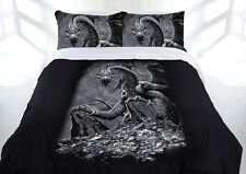 Stunning Green Eyed Dragon Black Grey KING Size Quilt Doona Cover Set