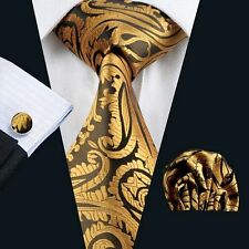 NEW ITALIAN DESIGNER ORANGE GOLD PAISLEY SILK TIE SET