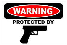 "NO Trespassing Private Property Protected by Hand Gun USA 12"" x 8"" Aluminum Sign"