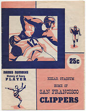 1940s San Francisco Clippers vs Hollywood Rangers Professional Football Program