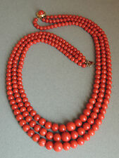 Gorgeous Natural Red Coral Bead Necklace 18k Gold Clasp