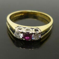 18ct yellow gold ruby & diamond vintage trilogy ring with full British hallmark