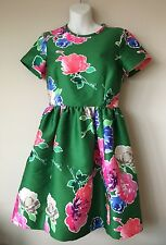 $448 Kate Spade Stelli In Full Bloom Floral Green Fit and Flare Dress sz 4
