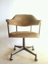 Vintage Faux Leather Dining Modern Chair Office Brass Swivel Clam Arm Baughman