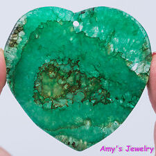 49x49x6mm Green Druzy Agate Heart Pendant Bead Stone 70415389