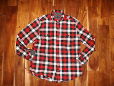 NEW Mens WOOLRICH Black White Red Plaid L/S Ultimate Flannel Shirt Sz M $59