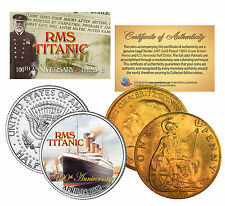 "RMS TITANIC ""100TH ANNIVERSARY"" JFK HALF DOLLAR & 1910 GREAT BRITAIN PENNY!"