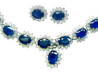 38.40ct Sapphire & Diamond Necklace & Earrings Set
