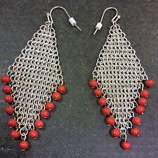 PIERCED Dangle EARRINGS Silver Tone Mesh Orange Bead Modern Southwestern Diamond