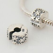 FLOWER BURST clip- Hinged stopper / Lock - Solid 925 sterling silver charm bead