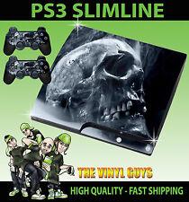 PLAYSTATION PS3 SLIM STICKER SMOKEY SKULL DARK ART GOTHIC BONES SKIN & PAD SKINS