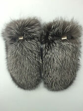 Silver Fox Blue Frost Fur Mittens With Leather. TOP Quality Real Genuine Fur.