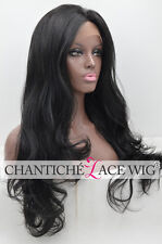 Black Long Wavy Lace Front Synthetic Wig Natural Looking Wig For Women Heat Good