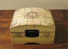 Unusual Sailors Scrimshaw Style Domed Box - Nautical Compass Decoration To Lid