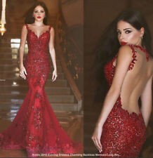 Dark Red Long Modest Prom Dresses Short Sleeves A-line Lace Formal Party Dresses