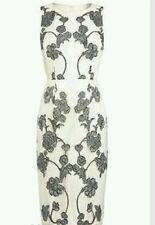 NEXT WHITE & GREY EMBROIDERED FLORAL MESH DRESS SIZE 12 TALL NEW WITH TAGS