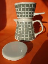 VINTAGE MELITTA  PATTERNED CERAMIC 60's COFFEE POT & FILTER CONE SET