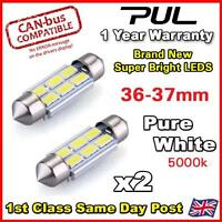 2x ERROR FREE CANBUS Pure White 6 SMD LED 36mm 239 272 C5W NUMBER PLATE BULB