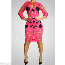 FUCHSIA LYCRA CUT-OUT SHEER Hot Pink Cocktail Dress/DRAG QUEEN/ 4-14 (maybe 16)