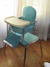Vintage 1950s Turquoise Stroll O Chair Baby High Chair Rocker Table EXCELLENT