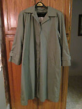 LONDON FOG TOWNE Womens Green Trench Coat w/ Zip Out Flannel Lining EUC Size 16R