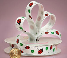 5/8 inch wide Ladybug Grosgrain Ribbon price for 1 yard