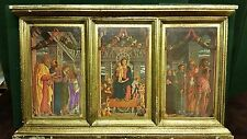Large Gold Gilt Tole Wood Italian Florentine Triptych Icon Madonna Angels Saints