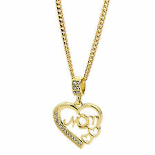 "New Fashion Gold Plated Mom Cz Charm Heart Pendant 30"" Cuban Love Mother's Day"